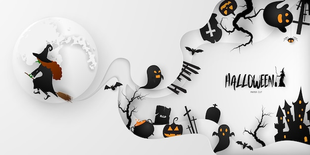 Halloween paper art party poster. set pumpkins of collection scary and funny carnival background concept design