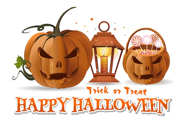 Halloween paper art with halloween basket with sweets, jack-o-lantern, burning candle, lamp and inscription - happy halloween. trick or treat. vector illustration isolated on white background