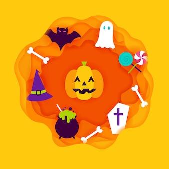 Halloween paper cut. vector illustration. trick or treat.