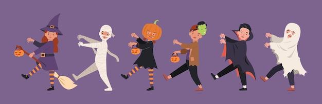 ハロウィンパレード、モンスターコスチュームを着た子供たちが一緒に歩いています。フラットスタイルのイラスト