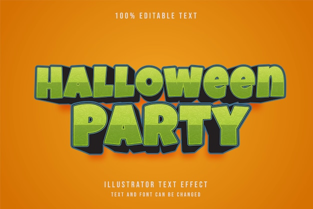 ハロウィーンパーティー、3 d編集可能なテキスト効果。