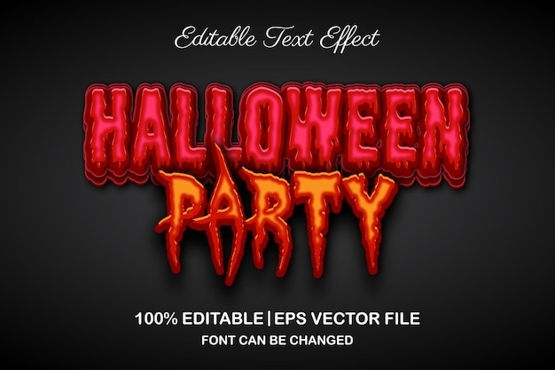 Halloween party 3d editable text effect