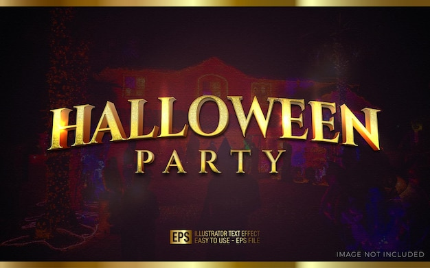 Halloween party 3d text editable style effect template