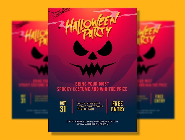 Halloween party a4 poster template with spooky face illustration