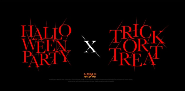 ハロウィーンパーティーとトリックオアトリートロゴ書体デザインテンプレート。