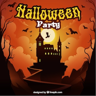 Halloween party background of landscape with castle