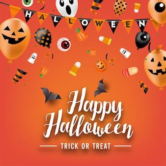 Предпосылка партии хеллоуина с воздушными шарами и конфетами. вектор