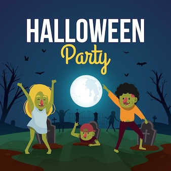 Halloween party background with cute zombies dancing