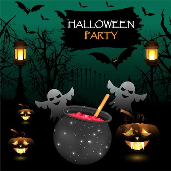 Halloween  party background with glowing pumpkin and horror house