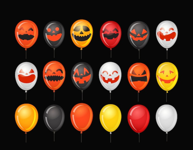 Halloween party ballons with pumpkin faces.