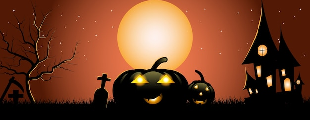 Halloween party banner, fullmoon, haunted house, pumpkins in the graveyard.