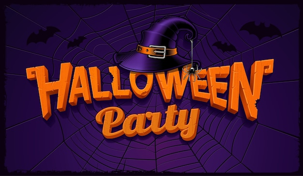 Halloween party banner with pumpkin lettering and hat of witch with spider web on the background.