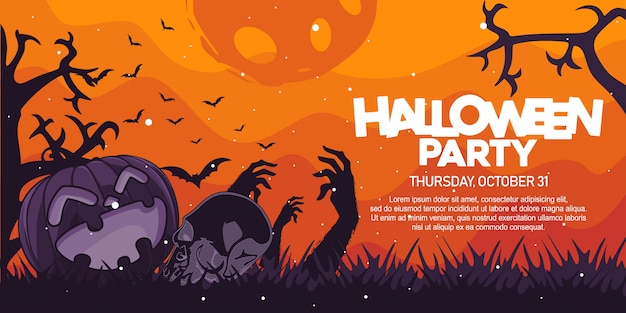 Halloween party banner with pumpkin and skull illustration