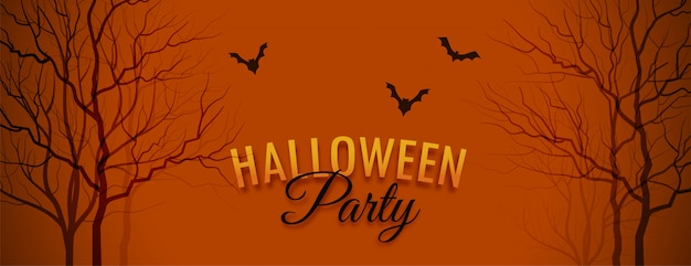 Halloween party banner with tree and bats