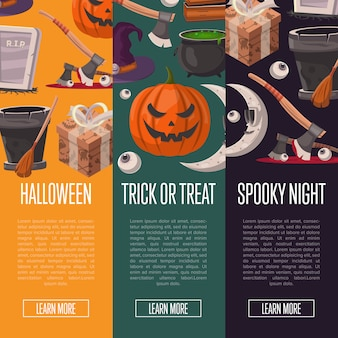 Halloween party banners with cute zombies