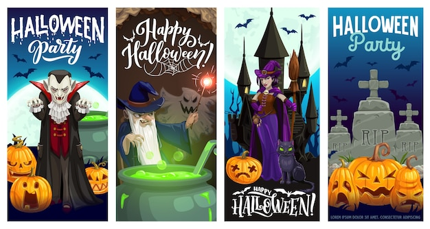 Halloween party banners with horror holiday pumpkins, witch, vampire and ghosts, bats, moon, cat and evil wizard, haunted house, cemetery and potion cauldron. halloween night party invitation