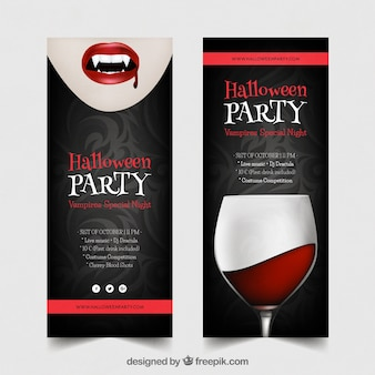 Halloween party banners with vampire and drink