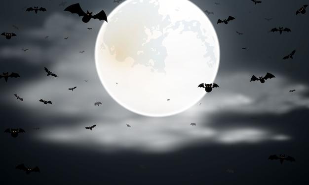 Хэллоуин летучая мышь и луна плакат. карнавал фон концепции дизайна