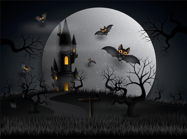 Halloween party bats flying in the night with full moon.