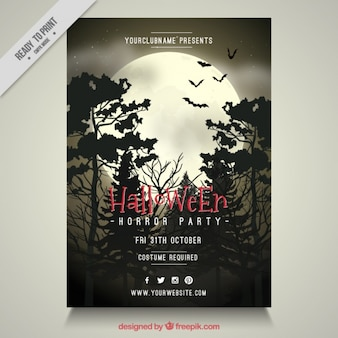 Halloween party brochure of night forest