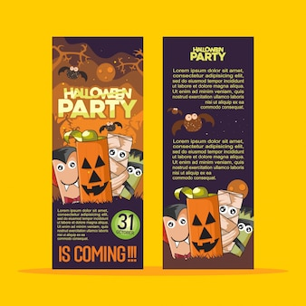 Halloween party brochure with monster celebration