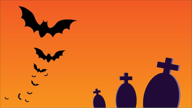 Halloween party card vector with copy space for text tombs and bats illustration