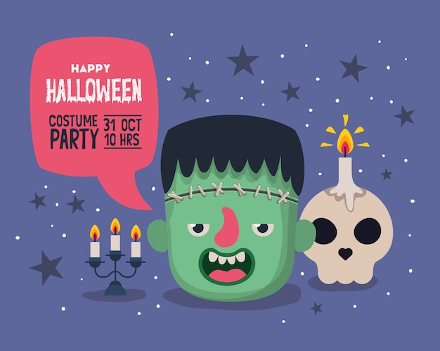 Halloween party card with frankestein
