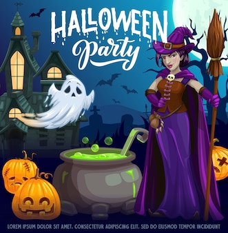 Halloween party cartoon poster. witch in purple dress holding broom near cauldron with green boiling goo. jack-o-lantern pumpkins and spooky ghost at haunted creepy castle on cemetery at night