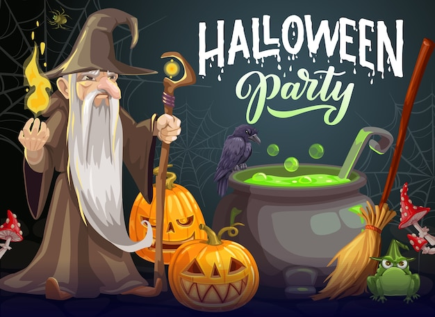 Halloween party cartoon poster. wizard with long white beard, gown and hat hold magic staff and fire near cauldron with green potion. halloween jack-o-lantern pumpkins, raven, frog and broom