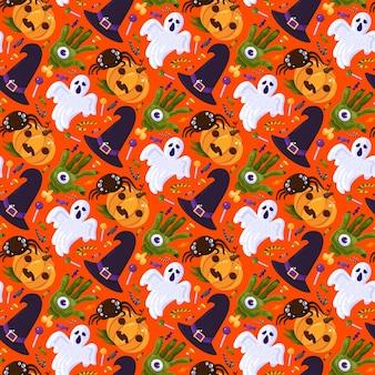 ハロウィーンパーティーは、シームレスなパターンベクトルを祝います。魔女の帽子と怖い手と目、幽霊と蜘蛛、ロリポップとキャンディーの甘いおやつで秋の季節のイベントを祝います。フラット漫画イラスト
