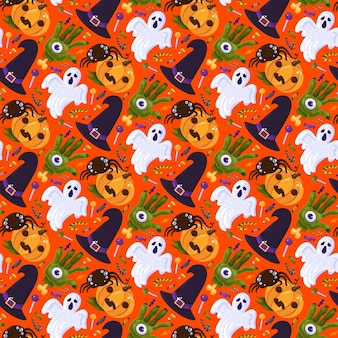 Halloween party celebrate seamless pattern vector. witch hat and scary hand with eye, ghost and spider, lollipop and candy sweet snack for celebrating autumn season event. flat cartoon illustration