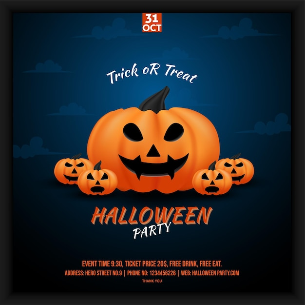 Halloween party celebration social media poster flyer in blue sky shades