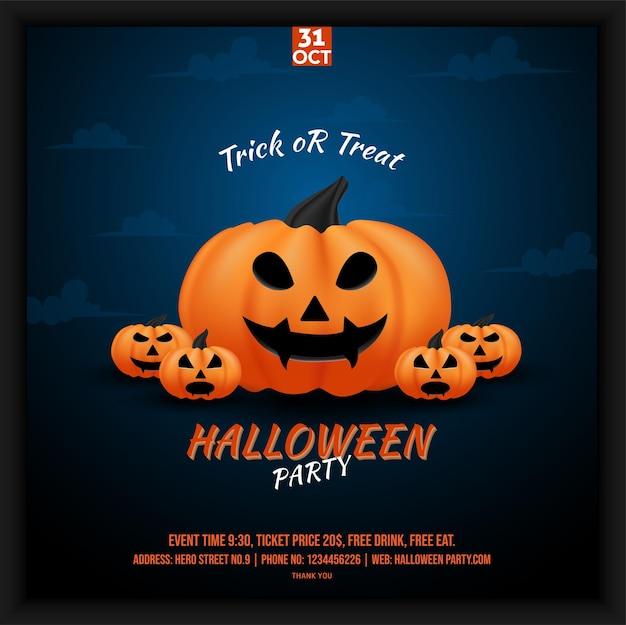 Плакат в социальных сетях для празднования хэллоуина в оттенках голубого неба