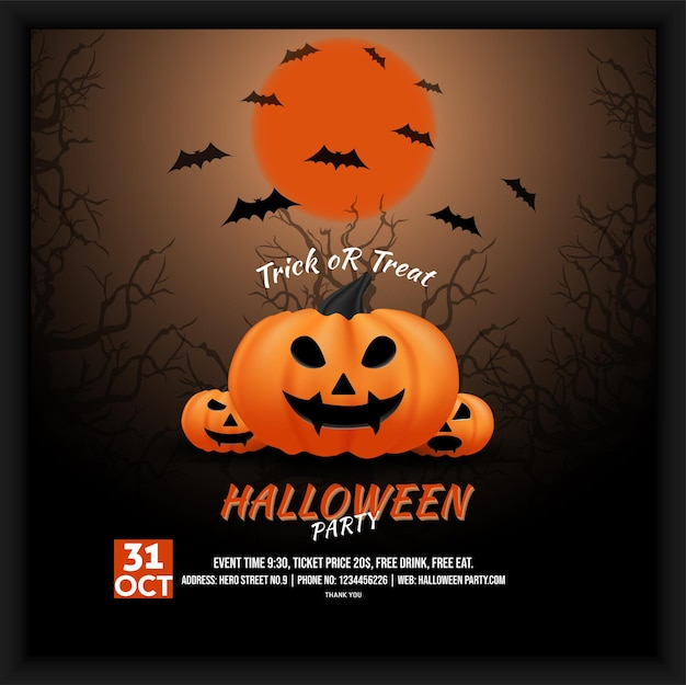 Halloween party celebration social media poster flyer with haunted theme