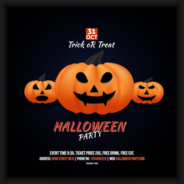 Halloween party celebration social media poster flyer with a meal together