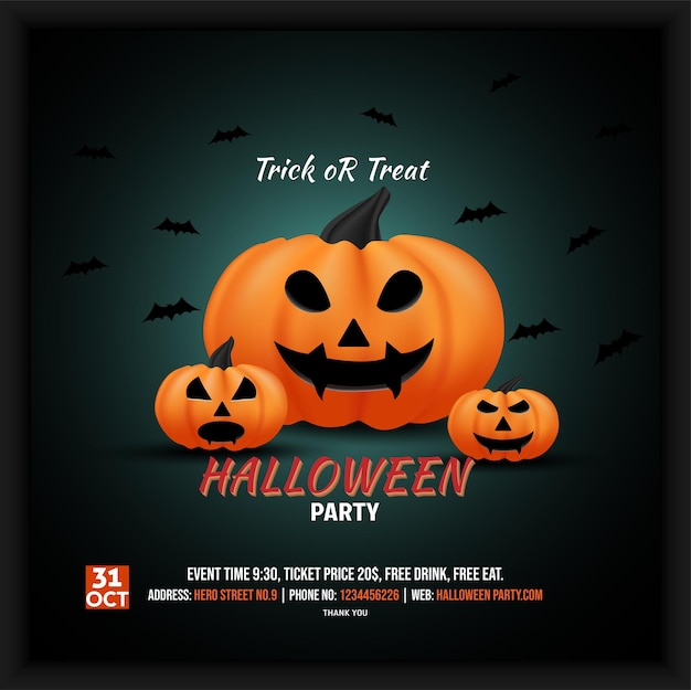 Halloween party celebration social media poster flyer with paid events