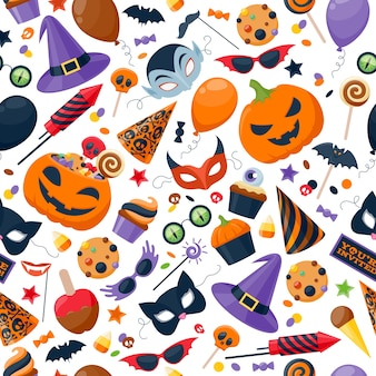 Halloween party colorful seamless pattern background