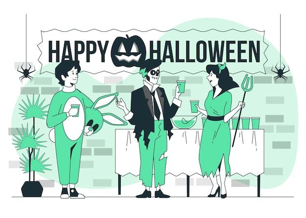Иллюстрация концепции вечеринки в честь хэллоуина
