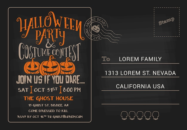 Halloween party and costume contest postcard invitation