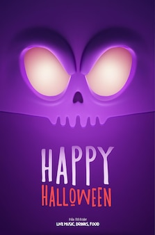 Halloween party design template, with scary monster and place for text. vector illustration