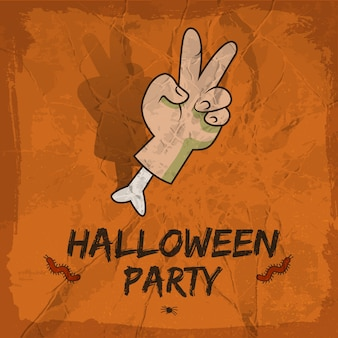 Halloween party design with severed hand with victory gesture red worms