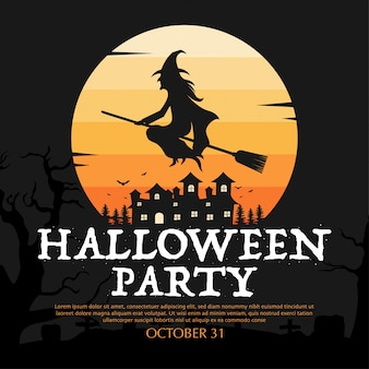 Halloween party design with witch illustration