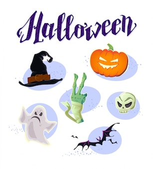 Halloween party elements - witch hat, mummy hand, ghost, pumpkin, skull, bat. vector illustration.
