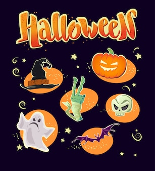 Элементы вечеринки в честь хэллоуина - шляпа ведьмы, рука мумии, призрак, тыква, череп, летучая мышь. векторная иллюстрация.