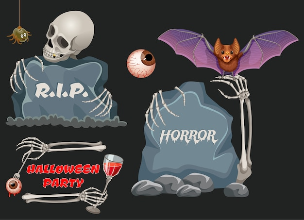 Halloween party emblems with wooden boards, bat.