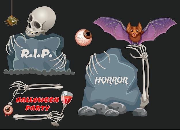 Emblemi di festa di halloween con assi di legno, pipistrello.