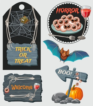 Halloween party emblems with wooden sign boards, bat isolated.
