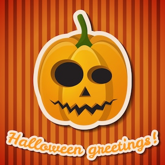 Halloween party festive poster with paper inscription and evil scary pumpkin on orange striped background