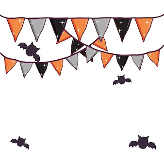 Halloween party flags decoration and bats