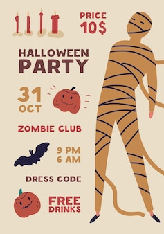 Halloween party flat poster vector template. holiday entertainment event, masquerade invitation. club advertising brochure, flyer, banner layout. creepy mummy, monster illustration with typography.